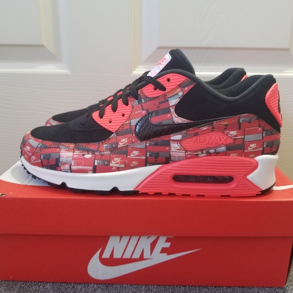 "quality design b829b ee4e0 Nike Air Max 90 Print ""WE LOVE NIKE"" Blk Red Shoes"